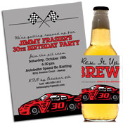 Nascar race car theme invitations and favors
