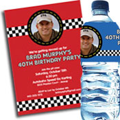 Racing theme invitations and favors