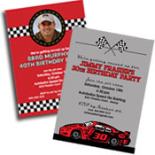 See all nascar and racing theme invitations and favors