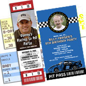 Racing theme tickets and pass invitations