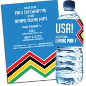 Winter Olympics theme invitations and favors
