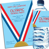 Custom Olympics theme invitations, party supplies and favors