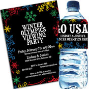 Winter Olympics Snow theme invitations and favors