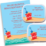 Beach party theme invitation