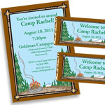 Summer camp theme invitations and favors