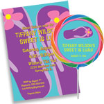 Custom flip flops theme invitations and favors
