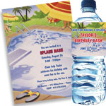 Pool party theme invitations and favors