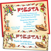 Personalized fiesta party invitations, decorations and party supplies