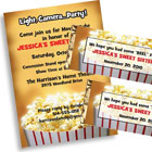 Popcorn theme invitations and favors