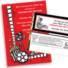 Movie reel theme invitations and favors