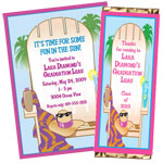 Luau beach chair invitations and favors