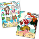 Luau Caricature Invitations
