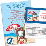 Graduation luau invitations and favors