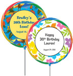 Custom lollipop luau theme favors. Fiesta personalized lollipops.