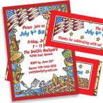 Patriotic BBQ theme invitations and favors