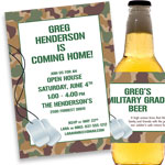 Patriotic camouflage invitations and favors