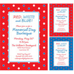 Patriotic polka dot invitations and favors