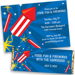 Patriotic fireworks invitations and favors