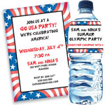 Patriotic flag theme invitations and favors