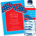 Patriotic flip flop invitations and favors