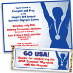 Patriotic Olympics theme invitations and favors