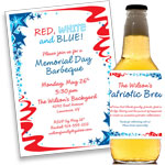 Patriotic swirls invitations and favors