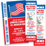 Patriotic ticket and pass invitations