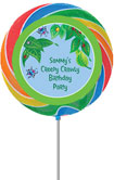 Lollipop party favor with custom bug sticker
