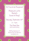 personalized pink and green dots invitation