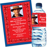 Western photo bandana theme invitations and favors
