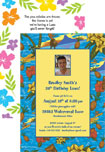 personalized luau birthday party invitation. luau theme party invitations