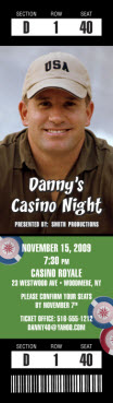casino photo ticket birthday invitation