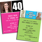 Milestone birthday party invitations and favors