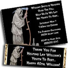 Grim Reaper theme birthday invitations, over the hill
