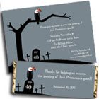 Vulture theme over the hill birthday invitations and favors