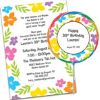 Luau theme birthday party invitations and favors