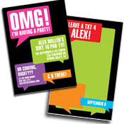Sweet 16 texting theme invitations, lollipops and favors