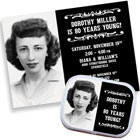 Vintage birthday theme invitations and favors