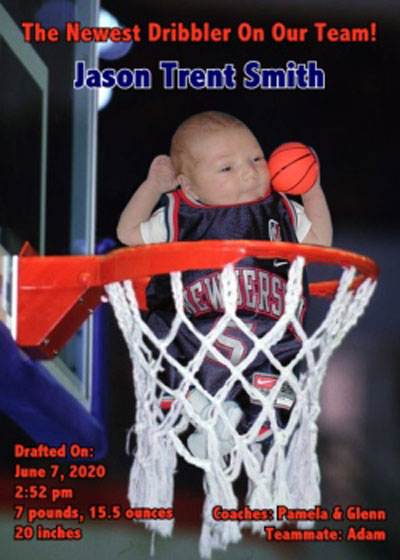 Baby Sports Photo Birth Announcement, Basketball