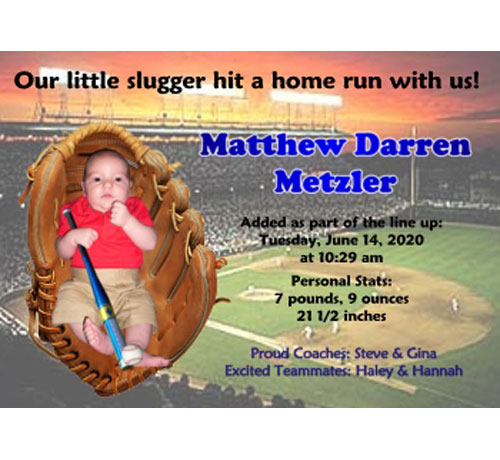 Baby Sports Photo Birth Announcement, Baseball