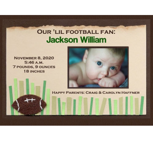 Baby Sports Photo Birth Announcement, Football