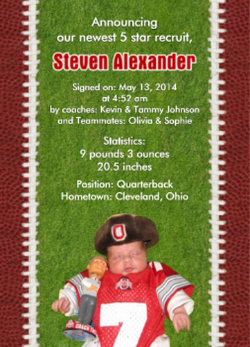 Baby Sports Photo Birth Announcement, Football Field