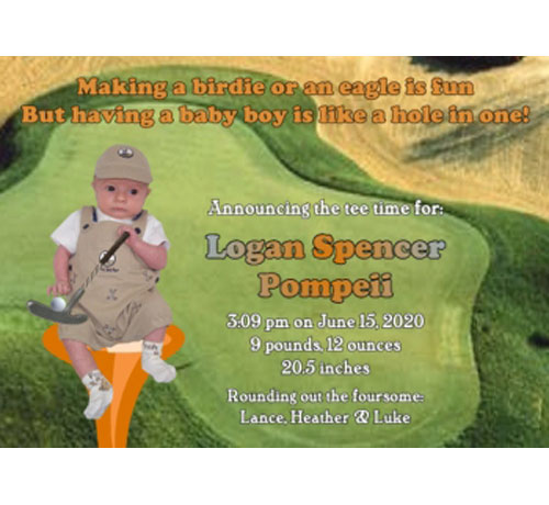 Baby Sports Photo Birth Announcement, Golf