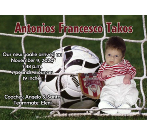 Baby Sports Photo Birth Announcement, Soccer