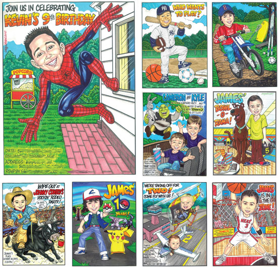 Birthday Custom Caricature, Boys / These custom caricature drawings of the birthday boy is sure to be a huge hit for your birthday party!