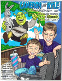 Custom caricature invitation, uniques boys birthday invitation