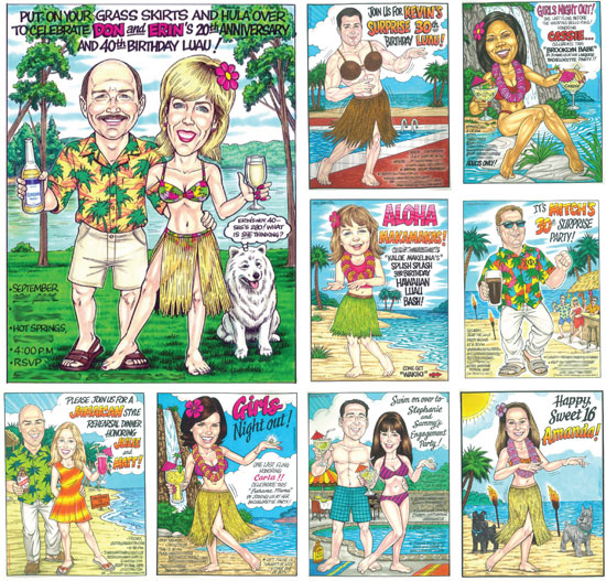 Luau Custom Caricature / Get ready to party with a truly one of a kind luau party caricature invitation.