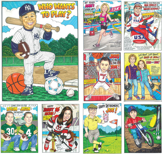 "Sports Theme Custom Caricature / Hit one out of the party with a ""FAN""tastic sports theme custom caricature drawings!"