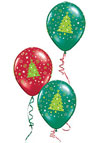 Red and Green Christmas tree balloons