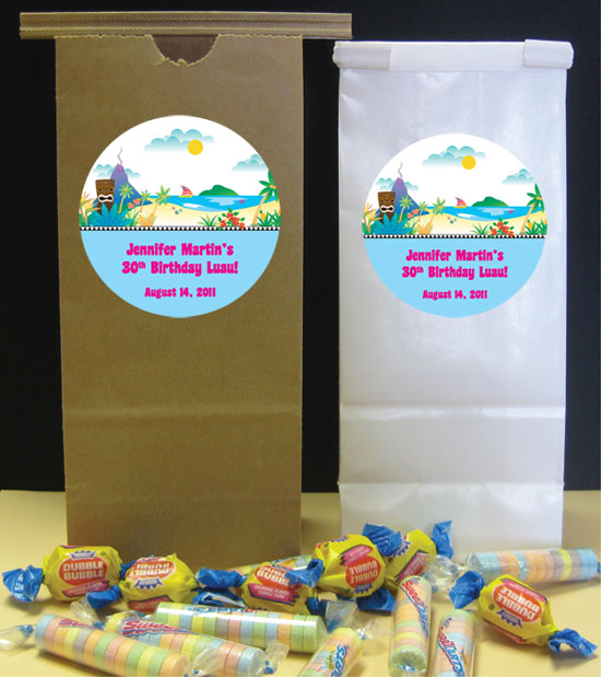 Luau Beach Theme Custom Favor Bag
